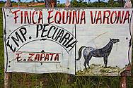 Horse farm sign in the San Ramon area, Pinar del Rio Province, Cuba.