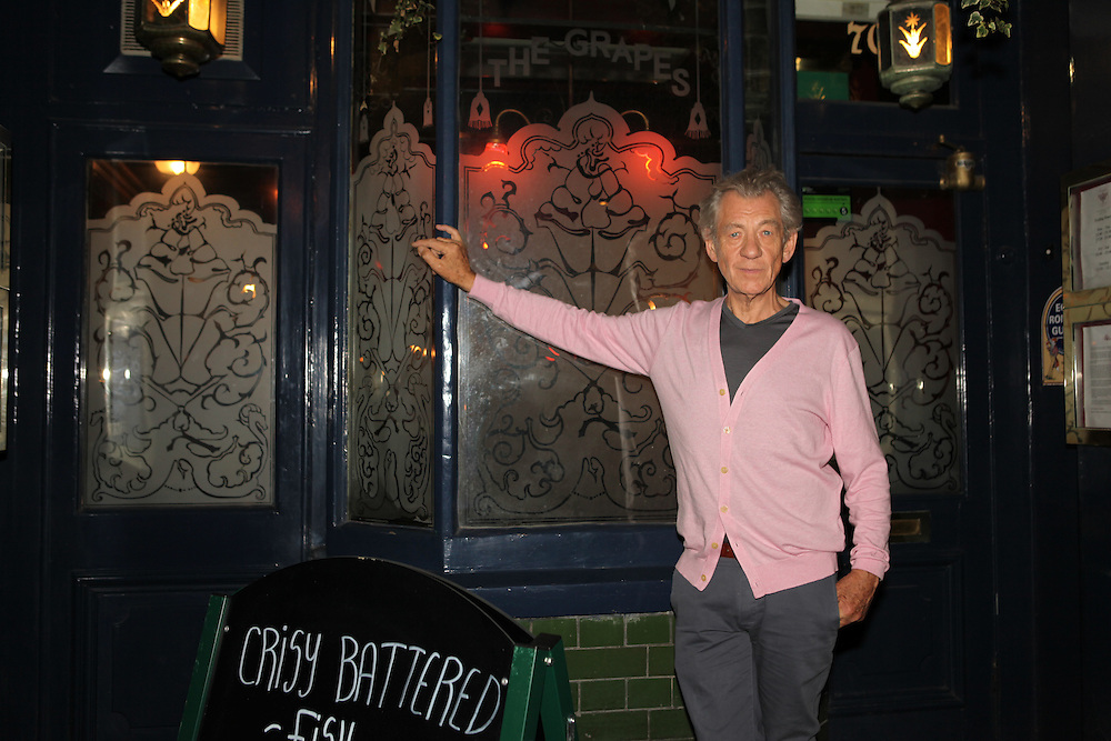 Sir Ian McKellen, at The Grapes, the pub he bought in Narrow Street, Limehouse, London