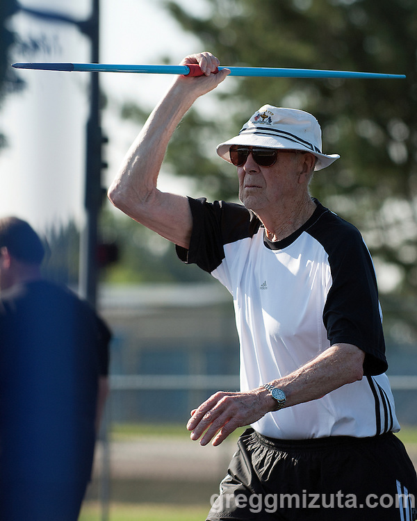 Herbert Wilkinson prepares to throw the javelin during the Idaho Senior Games at Timberline High School in Boise, Idaho on August 3, 2013. Wilkinson finished first in the M90 Division with a throw of 42-03.