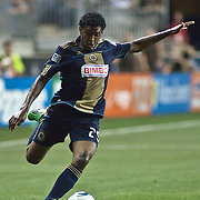 Union Defender Sheanon Williams #25 attempts to pass the ball during Saturday MLS regular season match. The Dynamo and The Philadelphia Union played to a 1-1 tie Saturday Aug. 6, 2011. at PPL Park in Chester PA...The News Journal/SAQUAN STIMPSON