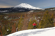 Snow shoeing up to Vista Butte with view to Mount Bachelor, winter snow, Cascade Mountain Range, Bend, Central Oregon, Oregon, USA