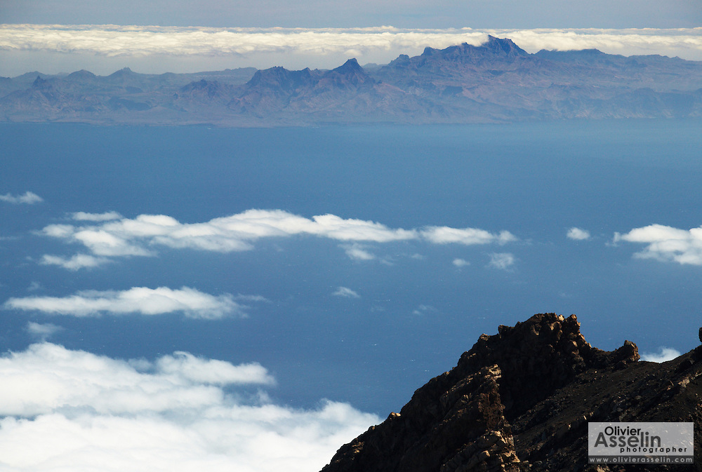 View of Santiago Island from the ridge of  Pico Fogo, Fogo Island, Cape Verde, West Africa.