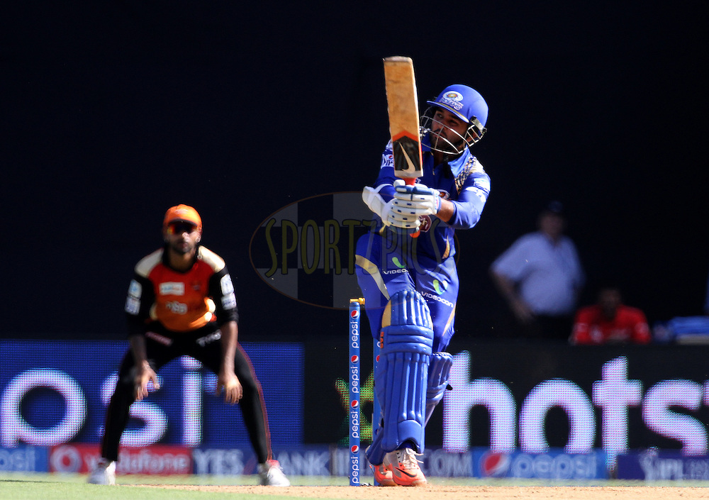 Mumbai Indians player Parthiv Patel plays a shot during match 23 of the Pepsi IPL 2015 (Indian Premier League) between The Mumbai Indians and The Sunrisers Hyderabad held at the Wankhede Stadium in Mumbai India on the 25th April 2015.<br /> <br /> Photo by:  Vipin Pawar / SPORTZPICS / IPL