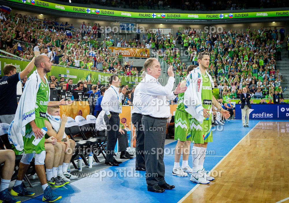 Bozidar Maljkovic, head coach of Slovenia, Bostjan Nachbar of Slovenia during basketball match between National teams of Slovenia and Finland in Round 2 at Day 13 of Eurobasket 2013 on September 16, 2013 in Arena Stozice, Ljubljana, Slovenia. (Photo by Vid Ponikvar / Sportida.com)