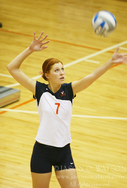 The University of Virginia's Lindsay Osco serves against Virginia Tech on October 4, 2005 at Memorial Gymnaisum in Charlottesville, VA.  The Cavaliers defeated the Hokies 3 games to 0.<br />