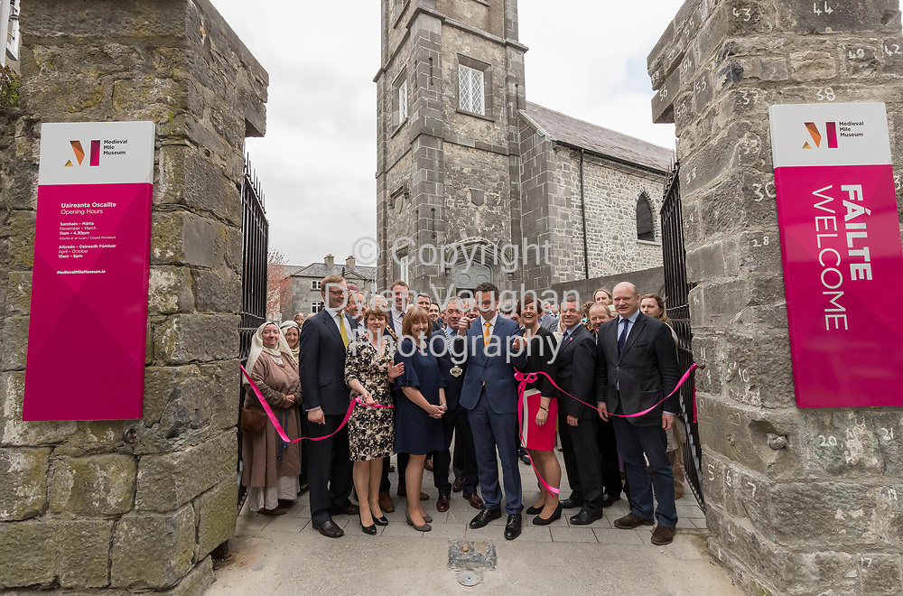 Repro Free no charge for use<br /> <br /> 4-4-17<br /> <br /> Official opening of Kilkenny&rsquo;s Medieval Mile Museum<br />  <br /> Today, Tuesday April 4th  at 12.15pm, Patrick O Donovan, Minister for Tourism and Sport officially opened Kilkenny&rsquo;s Medieval Mile Museum by cutting a ribbon at the door of the former St Mary&rsquo;s Church (St Mary&rsquo;s Lane, Kilkenny). The Medieval Mile Museum, commissioned by Kilkenny County Council, represents an investment of &euro;6.5 million, with significant assistance from Failte Ireland&rsquo;s Capital Programme and additional funding from Kilkenny Civic Trust. <br /> <br /> Pictured at the opening is Patrick O Donovan, Minister for Tourism and Sport cutting the ribbon with from left, John Paul Phelan TD, Brian Tyrrell Senior Executive Officer Kilkenny County Council, Colette Byrne Chief Executive Kilkenny County Council, Cllr Patrick O'Neill Mayor of Kilkenny, Grace Fegan Curator Medieval Mile Museum, Cllr. Matt Doran Chairman of Kilkenny County Council, Jenny De Saulles Failte Ireland Head of Ireland's Ancient East, Ciaran Conroy CEO Kilkenny Civic Trust, Cllr. John Brennan and Cllr David Fitzgerald.<br />  <br /> <br /> Picture Dylan Vaughan.