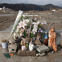A shrine to victims of the 2011 tsunami,  on the 1 year anniversary of the March 11th 2011 earthquake and tsunami, in Minami-Sanriku, Tohoku region, Japan on Sunday 11th March 2012.