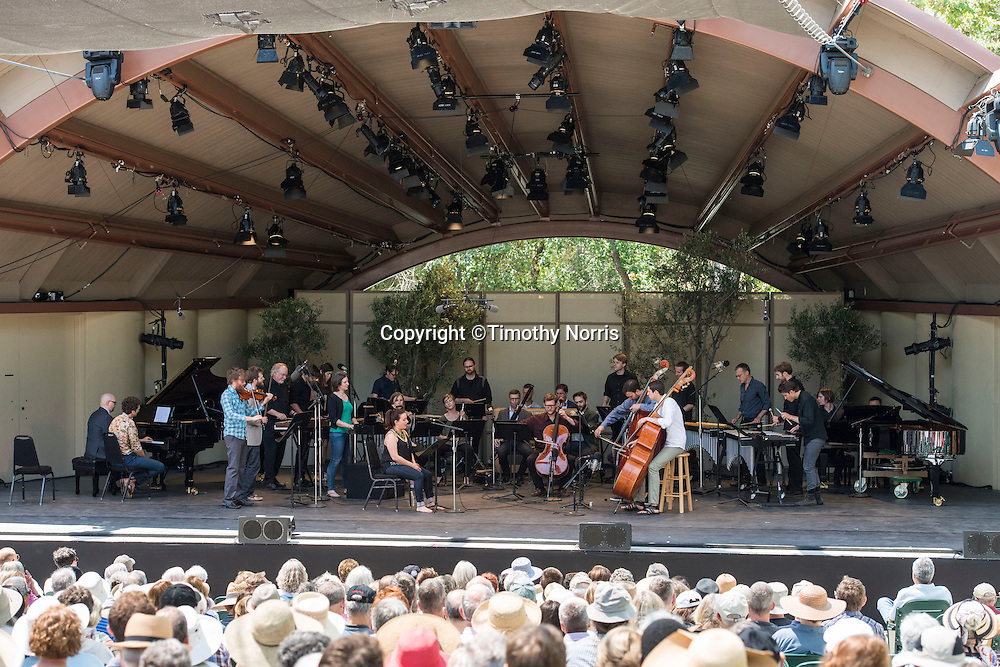 "Members of the MMDG Music Ensemble, red fish blue fish, The Bad Plus, Thomas Morris (Artistic Director) and soprano Yulia Van Doren perform Terry Riley's ""In C"" at Libbey Bowl on June 8, 2013 in Ojai, California."