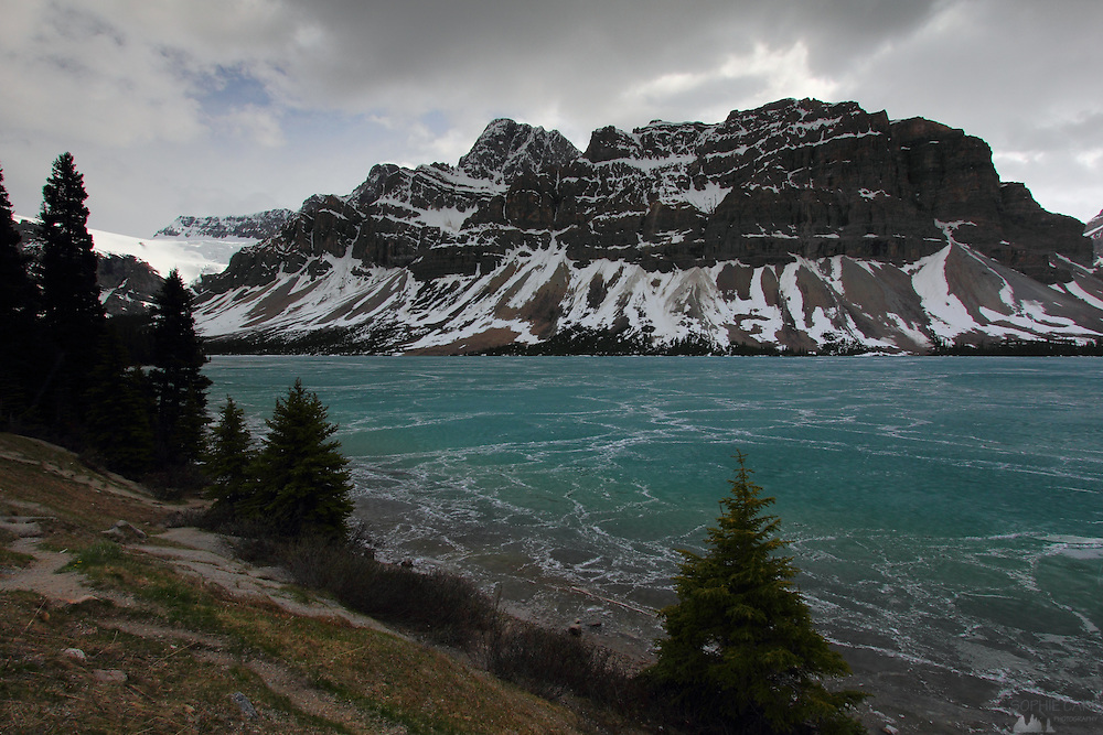 Bow Lake in Banff National Park, just outside Lake Louise, is still frozen in the middle of June.
