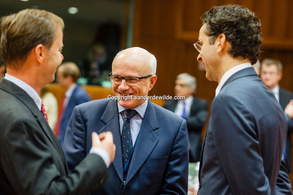From left to right mr Pieter de GOOIJER of the Dutch permanent Representation, Belgian permanent representation mr Pieter de GOOIJER , Dutch Finance Minister Jeroen Dijsselbloem prior an Economic and Financial Affairs Council on November 9, 2012 at the EU Headquarters in Brussels. The ECOFIN Council will provide guidance to the Cyprus presidency for the negotiations with the European Parliament on the 2013 EU budget.