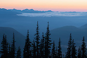 The sun recently set behind the Olympic Mountain Range, Olympic National Park, Washington