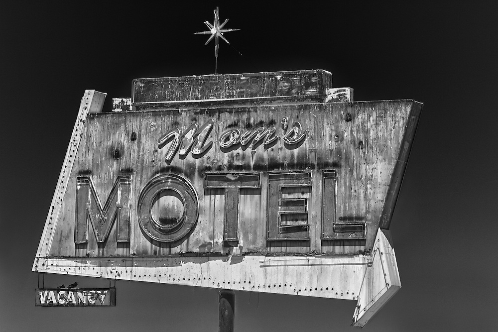 Mom's Motel Sign Northbound View - Tulare, CA - Highway 99 - HDR - Infrared Black & White