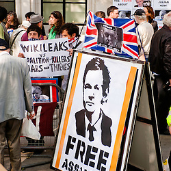 LONDON, UK - 30th May 2012: protesters outside the Supreme Court in central London, minutes after Assange's loss of his extradition appeal.
