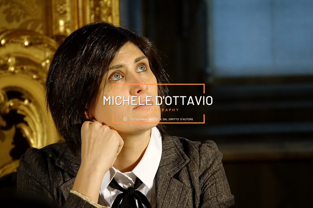 Chiara Appendino alla conferenza stampa di Presentazione del nuovo Salone del Libro di Torino, 21 novembre 2016.