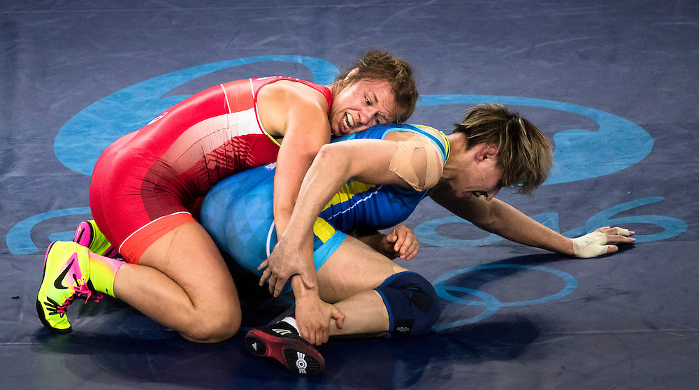 Wrestler Erica Wiebe wins Canada's 4th gold medal defeating Kazakhstan wrestler Guzel Manyurova in the 75-kilogram freestyle final at the Rio Olympics on August 18, 2016.