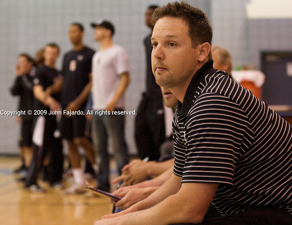 LBCC Head Coach Randy Totorp during the CCCAA Men's Volleyball Championship match against Golden West College at Irvine Valley College, Irvine CA on Saturday April 25, 2009.