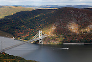 ear Mountain, New York - A view of the Bear Mountain Bridge, the Hudson River and the Hudson Highlands from Bear Mountain on Oct. 2, 2014. ©Tom Bushey / The Image Works