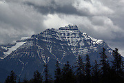 Stormy Skies over an imposing mountain near Jasper, Alberta, Canada