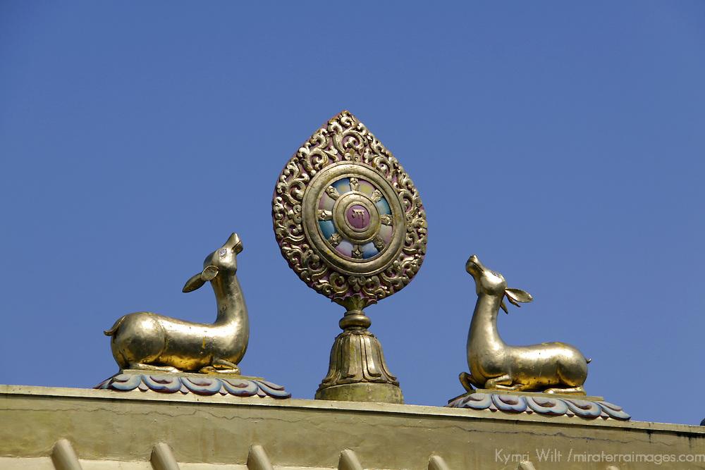 Asia, Nepal, Kathmandu. Gold Deer atop Nepali Temple.