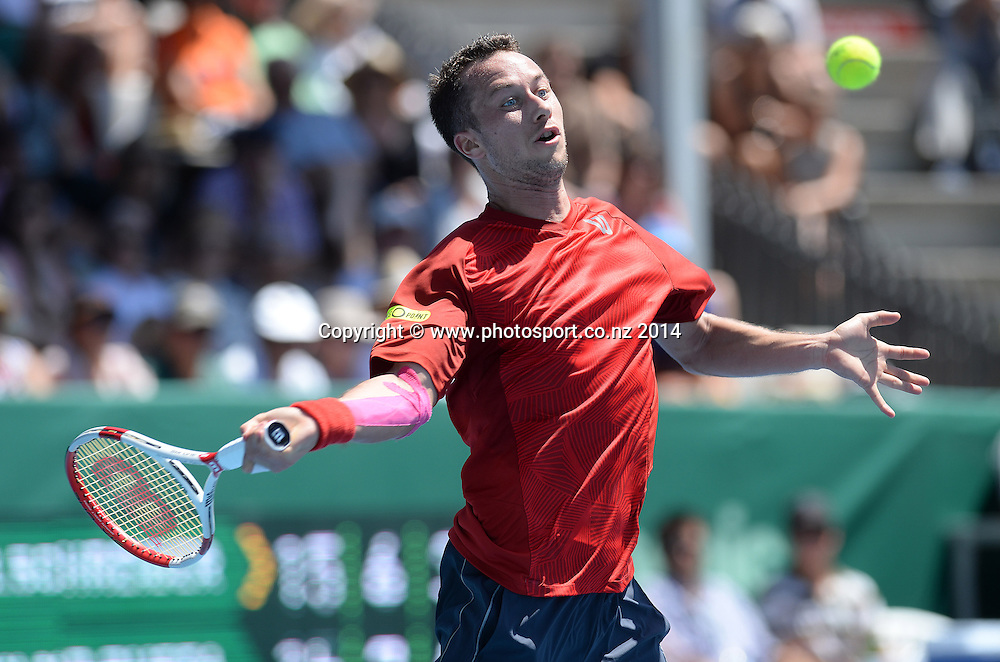 Germany's Philipp Kohlschreiber during his first round singles match at the 2014 Heineken Open. ASB Tennis Centre, Auckland. New Zealand. Tuesday 7 January 2014. Photo: Andrew Cornaga/www.photosport.co.nz