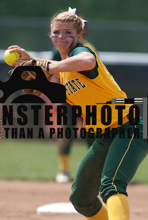 04/21/12 Dover Del. Norfolk State Alina Moriarty #3 fields the ball in the first inning of a NCAA Softball game against Delaware State Saturday, April. 21, 2012 at The Hornets Nest in Dover Del.<br /> <br /> Delaware State defeated Norfolk State 10-0 Saturday afternoon.<br /> <br /> Special to The News Journal/SAQUAN STIMPSON