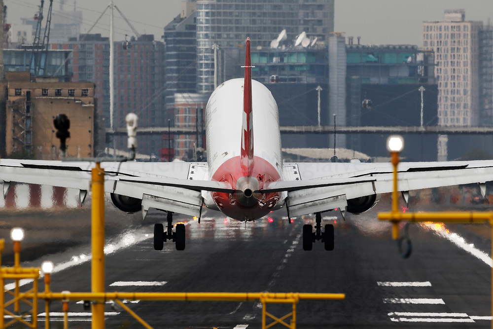 Helvetic Airways Embraer ERJ 190 lands at the London City LCY airport, 20 April 2017.