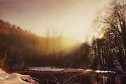 Sunrise on a cold winter morning at river Wupper / Germany