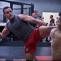 Jackson's/Winklejohn's: January 23, 2012 UFC fighter Kyle Noke delivers a high kick to Damacio Page during coach Jackson's class at Jackson's/Winkeljohn's in Albuquerque, NM