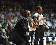 "Ole Miss vs. Missouri head coach Frank Haith reacts to a play at the C.M. ""Tad"" Smith Coliseum on Saturday, January 12, 2013. Ole Miss defeated #10 ranked Missouri 64-49."