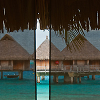Overwater huts at a resort in Bora Bora.