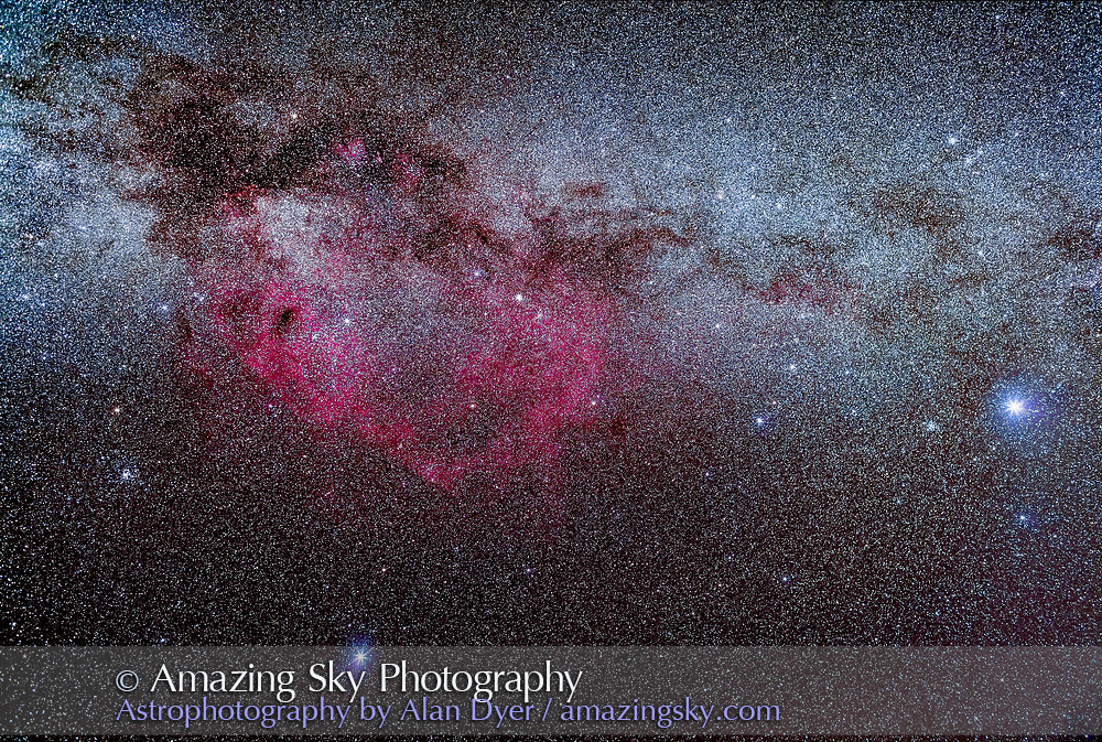The region of the Milky Way in Puppis and Vela encompassing the vast Gum Nebula, a photographic object only. Sirius and Canis Major are at right; Canopus in Carina is at bottom. The False Cross and the open cluster NGC 2516 are at left. <br /> <br /> This is a stack of just 4 x 3-minute exposures at f/2.8 with the 35mm lens and filter-modified Canon 5D MkII at ISO 2000. Incoming clouds prevented more exposures. All on the iOptron Sky-Tracker. Taken April 20, 2017 from Tibuc Gardens Cottage, Coonabarabran, Australia.