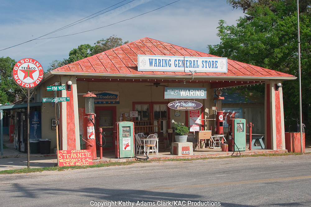 The Waring General Store on FM 1621 in Waring, Texas is a mix of mid-20th century nostalgia and modern hill country life.  Gifts and cold drinks mix with country music.