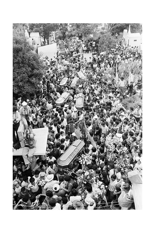 On May 9, 1979, a symbolic occupation of San Salvador&rsquo;s Metropolitan Cathedral by the leftist Popular Revolutionary Block &ndash; BPR &ndash; turned deadly as a cadre of national police turned their weapons on demonstrators killing 24 and wounding scores. The attack on the peaceful demonstration was seen as a coordinated effort - in a very public way - by the sitting Romero government against left wing demonstrations.<br /> As gunfire continued, at least one demonstrator fired back at the troops with a small pistol, provoking a prolonged response.<br /> In what was interpreted as  a gruesome message to the left wing groups, the demonstrators fallen bodies were left on the cathedral steps for nearly 24 hours and the wounded sealed inside the church with little aid.<br /> Midday, on May 10, 1979, police withdrew from their cordon around the cathedral and the dead were taken into the sanctuary and draped with BPR banners as mourners filed by.<br /> Thousands would join the leftist demonstrators for a funeral march to a San Salvador cemetery.