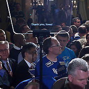 The first lines of Romney's teleprompter speech during a celebration with caucus night supporters at the Hotel Ft. Des Moines Tuesday, January 3, 2012, in Des Moines, IA.  The teleprompter was later lowered and Romney read from notes on a paper...Photo by Khue Bui