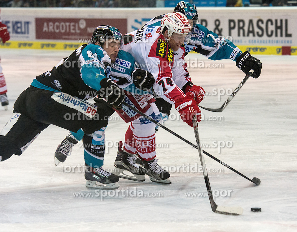 28.12.2015, Keine Sorgen Eisarena, Linz, AUT, EBEL, EHC Liwest Black Wings Linz vs EC KAC, 36. Runde, im Bild Patrick Spannring (EHC Liwest Black Wings Linz) und Brett Palin (EHC Liwest Black Wings Linz) gegen Jamie Lundmark (EC KAC) // during the Erste Bank Icehockey League 36th round match between EHC Liwest Black Wings Linz and EC KAC at the Keine Sorgen Icearena, Linz, Austria on 2015/12/28. EXPA Pictures © 2015, PhotoCredit: EXPA/ Reinhard Eisenbauer
