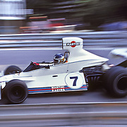 Argentinan driver Carlos Reutemann handles his Brabham-Ford during the training sessions of the 1975 Spanish Grand Prix. Reutemann finished 3rd.