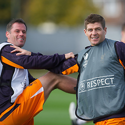 LIVERPOOL, ENGLAND - Wednesday, October 3, 2012: Liverpool's Jamie Carragher and captain Steven Gerrard during a training session at Melwood Training Ground ahead of the UEFA Europa League Group A match against Udinese Calcio. (Pic by David Rawcliffe/Propaganda)