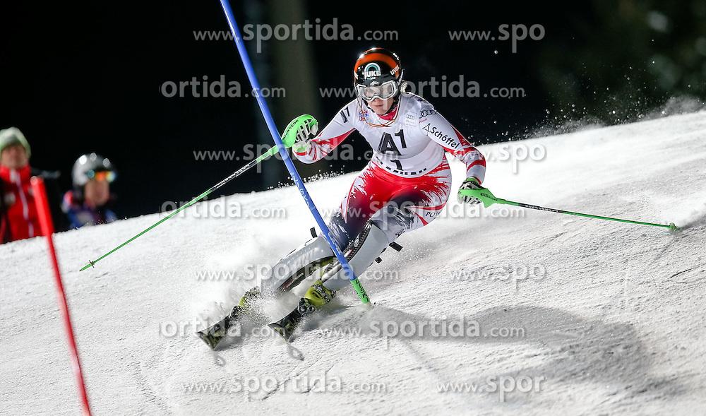 13.01.2015, Hermann Maier Weltcupstrecke, Flachau, AUT, FIS Weltcup Ski Alpin, Flachau, Slalom, Damen, 1. Lauf, im Bild Nicole Hosp (AUT) // Nicole Hosp of Austria in action during 1st run of the ladie's Slalom of the FIS Ski Alpine World Cup at the Hermann Maier Weltcupstrecke in Flachau, Austria on 2015/01/13. EXPA Pictures © 2015, PhotoCredit: EXPA/ Johann Groder