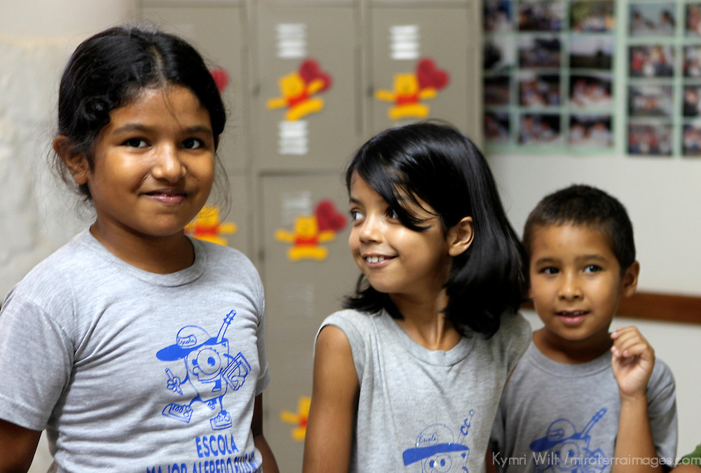 South America, Brazil, Pantanal. Children of the primary school at the Caiman Ecological Refuge.