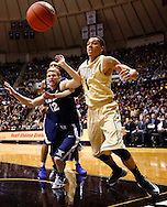 WEST LAFAYETTE, IN - DECEMBER 01: Brad Redford #12 of the Xavier Musketeers and Anthony Johnson #1 of the Purdue Boilermakers eyes a loose ball at Mackey Arena on December 1, 2012 in West Lafayette, Indiana. (Photo by Michael Hickey/Getty Images) *** Local Caption *** Brad Redford; Anthony Johnson