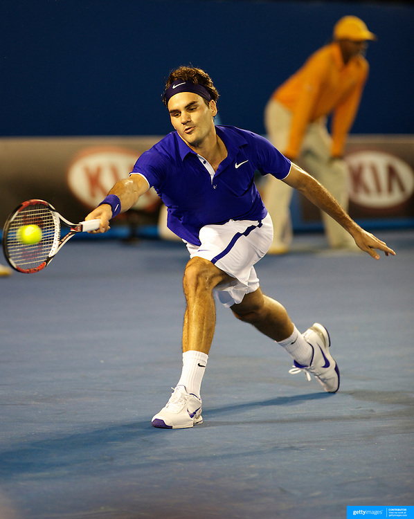 Roger Federer of Switzerland during his victory over Andy Roddick of USA in the Men's semi finals at the Australian Tennis Open on January 29, 2009 in Melbourne, Australia. Photo Tim Clayton    .