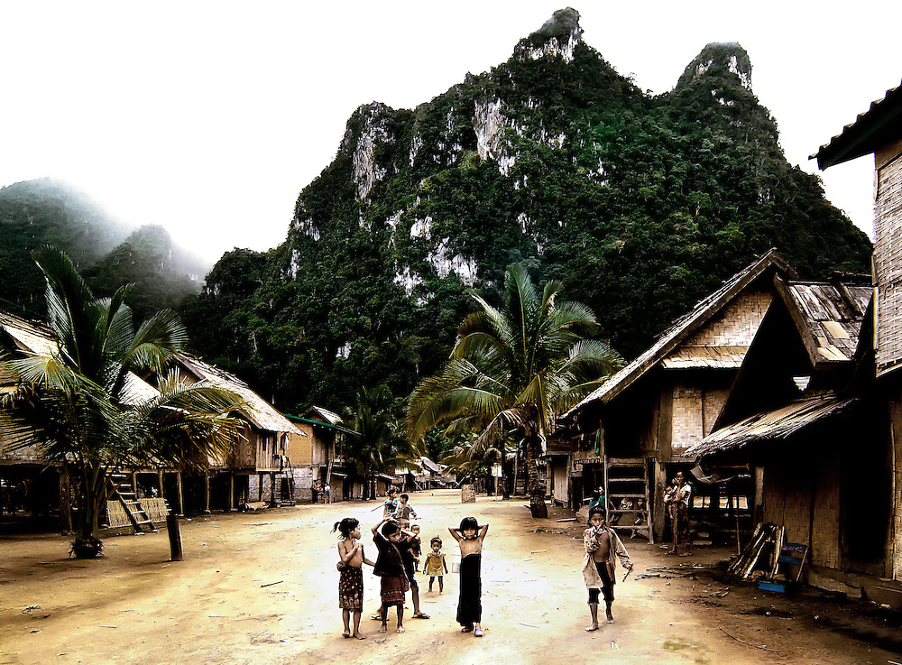 Children in the picturesque village of Gan on the Ou River in Luang Prabang Province, Laos.