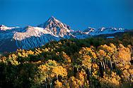 Colorado,  Mount Sneffels  (14,017 feet), Sneffels Mountain Range , Sneffels WIlderness, Part of the San Juan Mountain Range, Fall Aspen, San Juan Skyway Scenic Byway, Uncompahgre National Forest