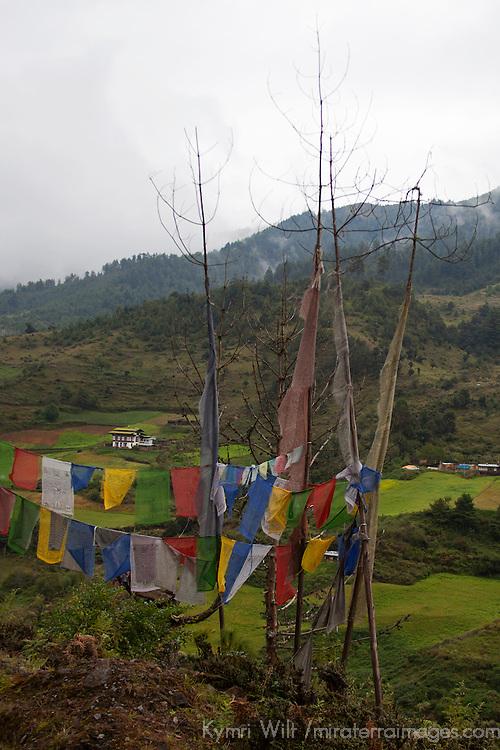 Asia, Bhutan, Trongsa. Landscape and prayer flags scene of Bhutan.