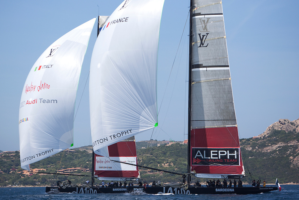 Mascalzone Latino trails Aleph at the Louis Vuitton Trophy, La Maddalena, Italy. 1 June 2010. Photo: Gareth Cooke/Subzero Images