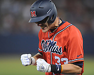 Mississippi's Matt Snyder reacts to being called out at first vs. Arkansas in a college baseball game at Oxford-University Stadium in Oxford, Miss. on Friday, May 7, 2010.