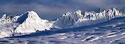 Late afternoon light on peaks, Chugach Mountains, Thompson Pass, Alaska.