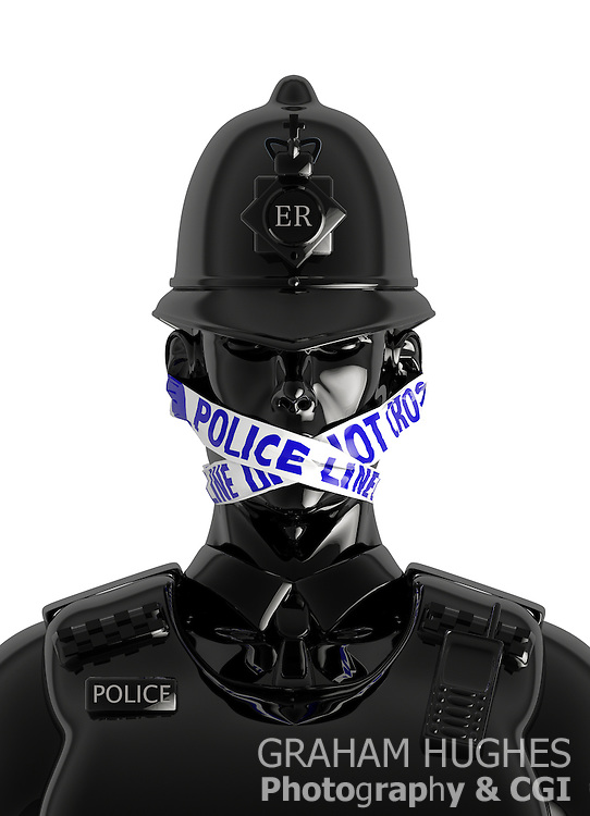 """UK Policeman Wearing Gag of """"Police Line Do Not Cross"""" Tape over mouth; Symbolising Police fear of talking to press after Leveson Inquiry."""