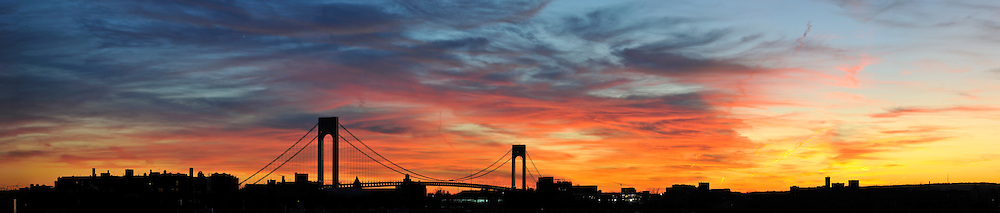 Verrazano Narrows Bridge and sunset in Brooklyn.