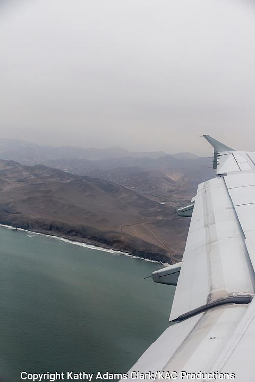 Aerial of Peru, Pacific shoreline, pacific coast.